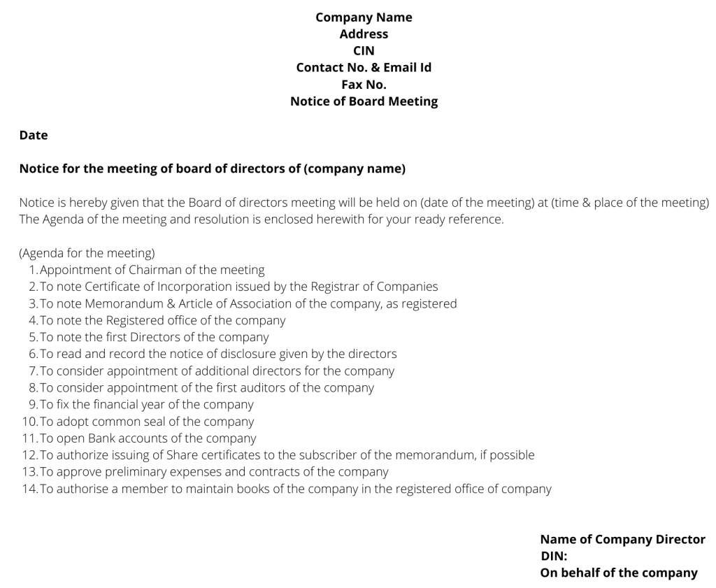 notice and agenda/first board meeting